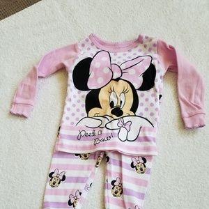 Disney Minnie Mouse 2 Piece Pajama Set 9 Month